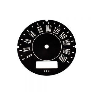67 - 71 A Body Rallye Speedometer Face 200 KPH without trip odo - METRIC