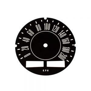 67 - 71 A Body Rallye Speedometer Face 200 KPH with trip odo - METRIC