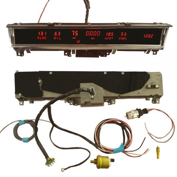 68 - 70 B Body Non Rallye Digital Dash Complete Instrument Cluster - Red