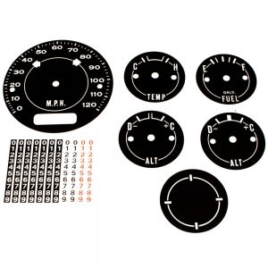 70 - 74 Barracuda Cuda AAR Standard Dash Decal Kit 120 MPH with Clock Delete