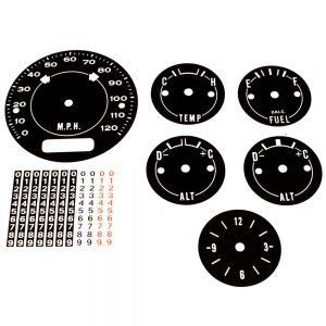 70 - 74 Barracuda Cuda AAR Standard Dash Decal Kit 120 MPH with Clock