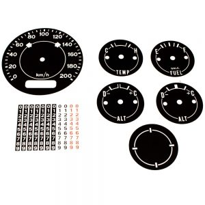 70 - 74 Barracuda Cuda AAR Standard Dash Decal Kit 200 KPH with Clock Delete  - METRIC