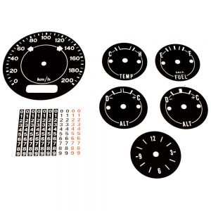 70 - 74 Barracuda Cuda AAR Standard Dash Decal Kit 200 KPH with Clock - METRIC